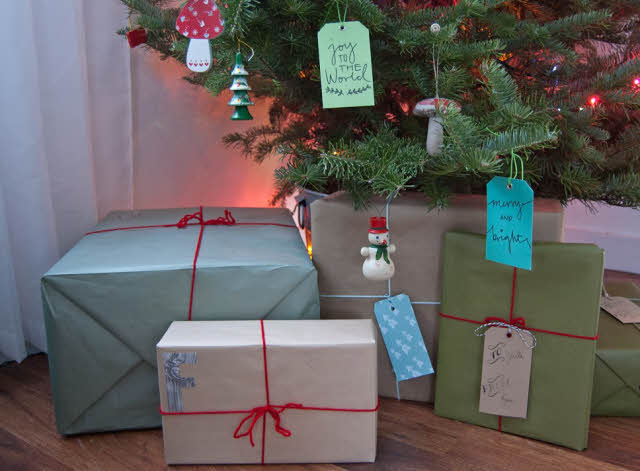 christmas presents covered with wrapping paper