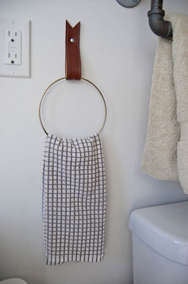 towel holder made from old belts