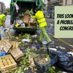 workers throwing food waste in a garbage truck
