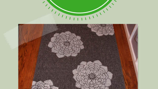 upcycle an old rug with a stencil