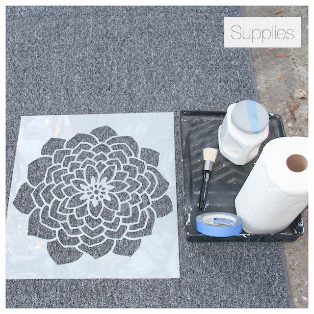 supplies for stenciling rug