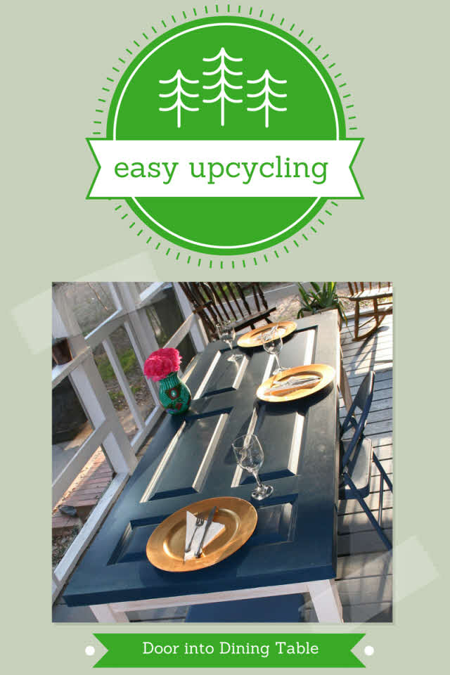 repurposing a front door into a dining table