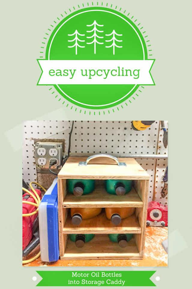 upcycling motor oil bottles