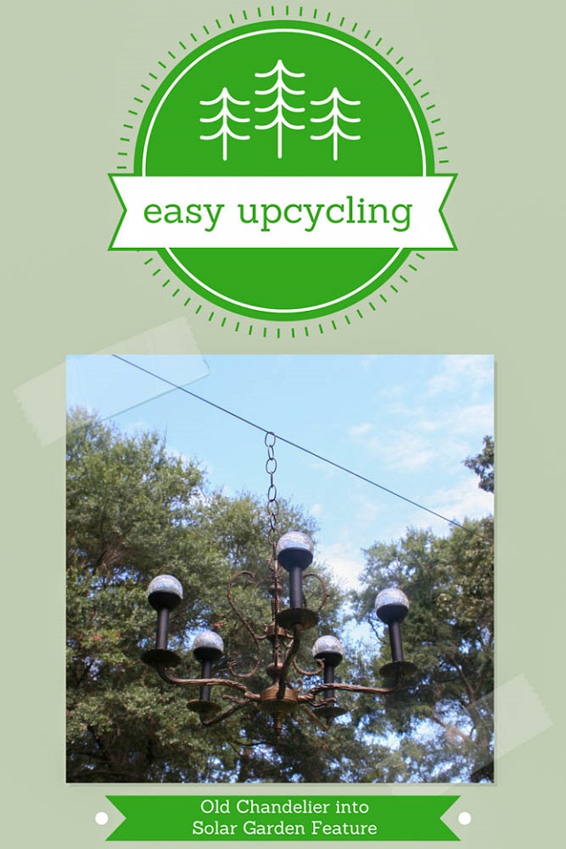easy upcycling - turn an old chandelier into a stylish solar lantern