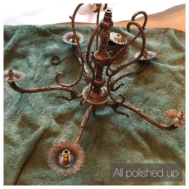 old chandelier all polished up