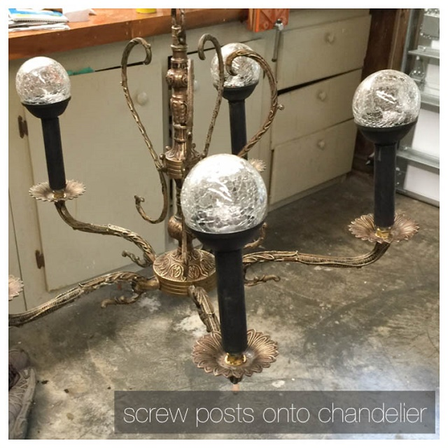 screw posts onto old chandelier