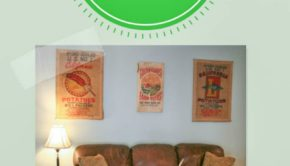 turn a potato sack into wall art