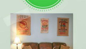 turn a potato sack into wall art