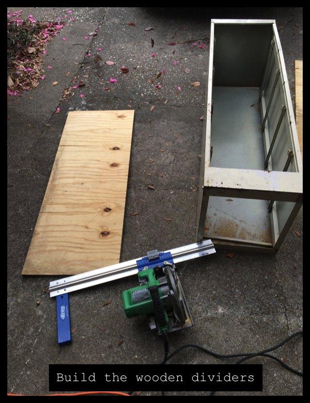 build wooden dividers for garden storage