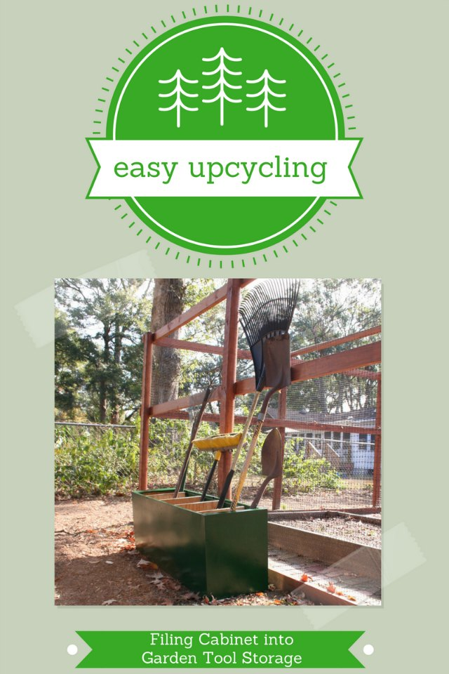 filing cabinet upcycled into garden storage