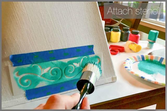 attach stencil to lampshade