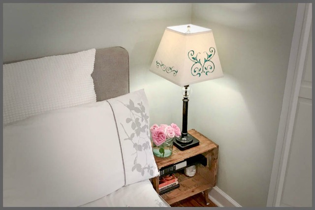 finished stenciled lampshade
